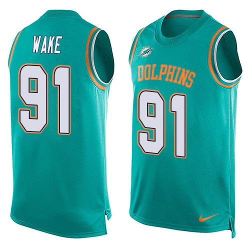 2016 Nike NFL Miami Dolphins 91 Cameron Wake Green Men Stitched Limited Tank Top Jersey