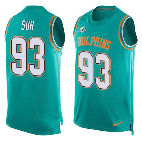 2016 Nike NFL Miami Dolphins 93 Ndamukong Suh Green Men Stitched Limited Tank Top Jersey