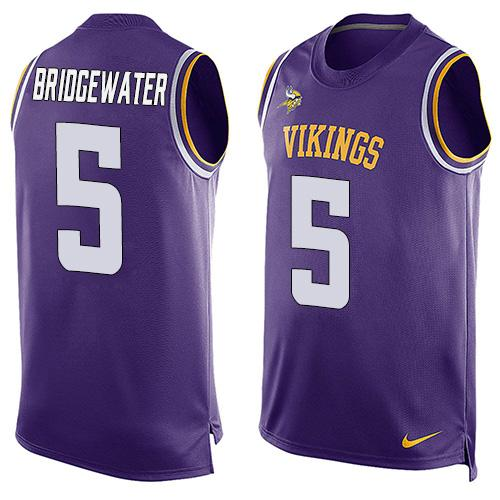 2016 Nike NFL Minnesota Vikings 5 Teddy Bridgewater Purple Men Stitched Limited Tank Top Jersey