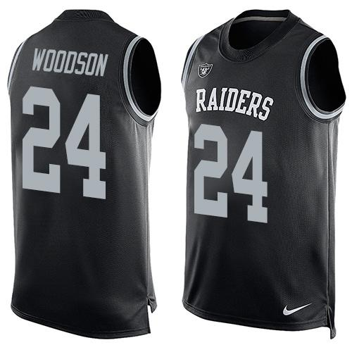 2016 Nike NFL Oakland Raiders 24 Charles Woodson black Men Stitched Limited Tank Top Jersey