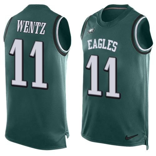 2016 Nike NFL Philadelphia Eagles 11 Carson Wentz Green Men Stitched Limited Tank Top Jersey