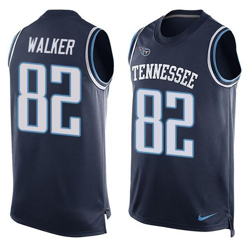 2016 Nike NFL Tennessee Titans 82 Delanie Walker Navy Blue Men Stitched Limited Tank Top Jersey