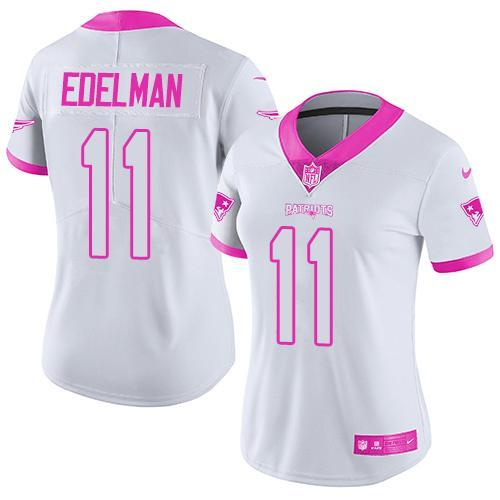 2016 Nike New England Patriots 11 Julian Edelman White Pink Women Stitched NFL Limited Rush Fashion Jersey