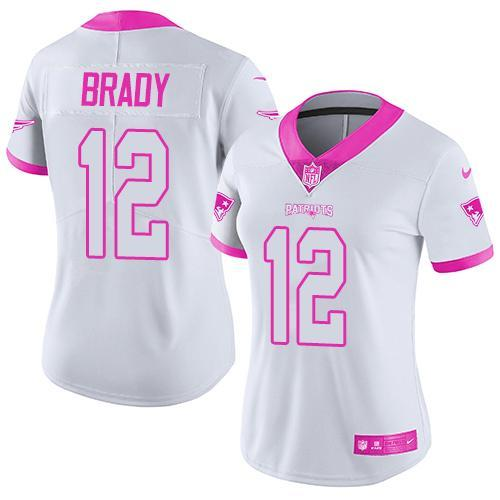 2016 Nike New England Patriots 12 Tom Brady White Pink Women Stitched NFL Limited Rush Fashion Jersey