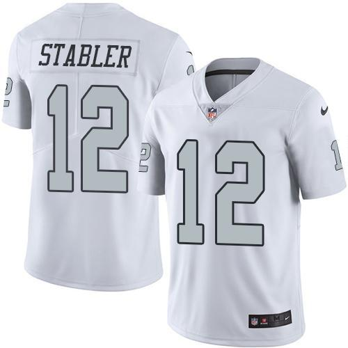 2016 Nike Oakland Raiders 12 Kenny Stabler White Men Stitched NFL Limited Rush Jersey