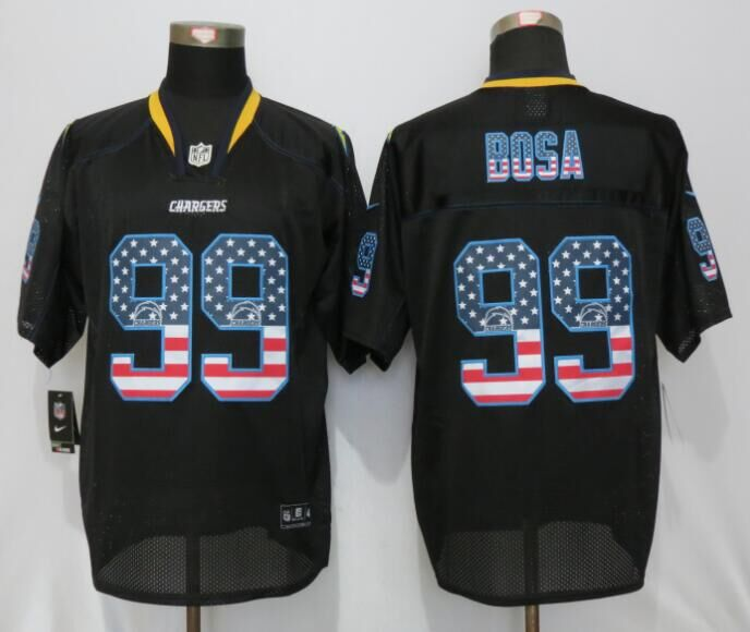 2016 Los Angeles Chargers 99 Bosa USA Flag Fashion Black New Nike Elite Jerseys