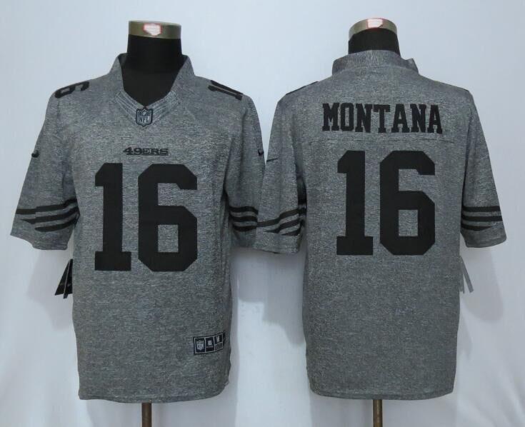 2016 San Francisco 49ers 16 Montana Gray Men's Stitched Gridiron Gray Nike Limited Jersey