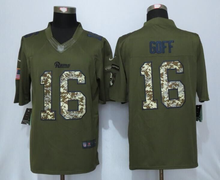 2016 St.Louis Rams 16 Goff Green Salute To Service New Nike Limited Jersey