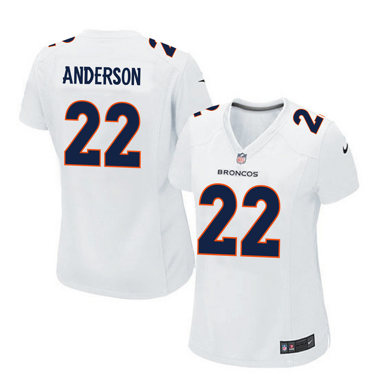 2016 Women Denver Broncos 22 Anderson white jerseys