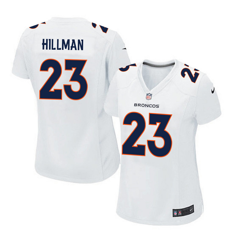 2016 Women Denver Broncos 23 Hillman white jerseys