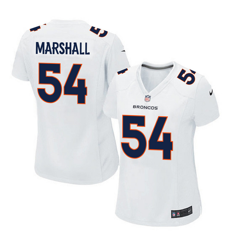 2016 Women Denver Broncos 54 Marshall white jerseys