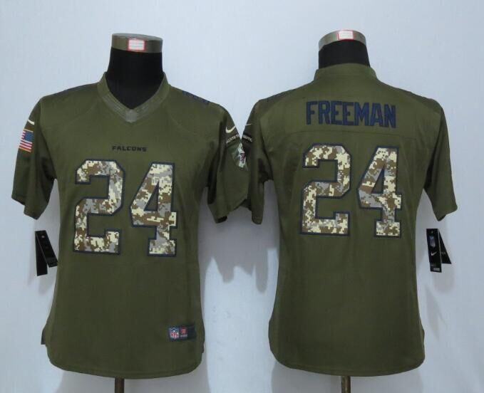 2016 Women New Nike Atlanta Falcons 24 Freeman Green Salute To Service Limited Jersey
