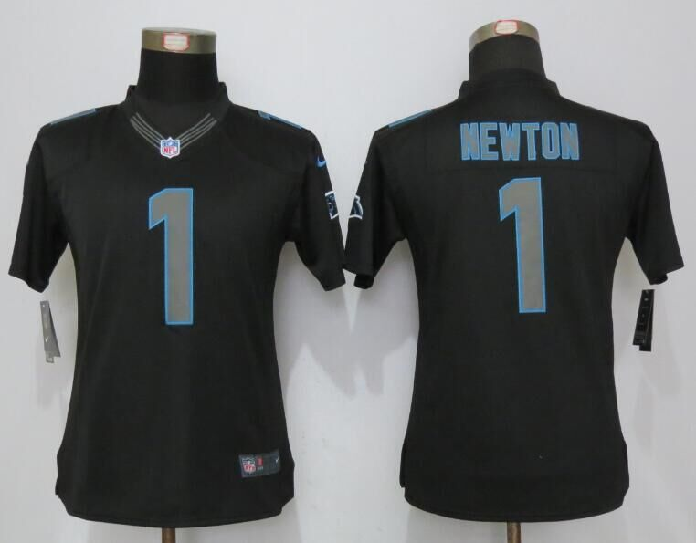 2016 Women New Nike Carolina Panthers 1 Newton Impact Limited Black Jerseys