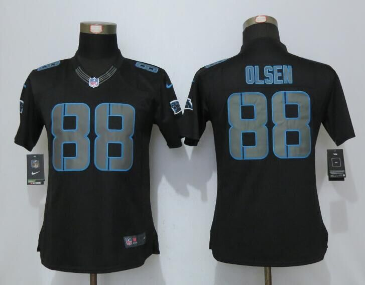 2016 Women New Nike Carolina Panthers 88 Olsen Impact Limited Black Jerseys