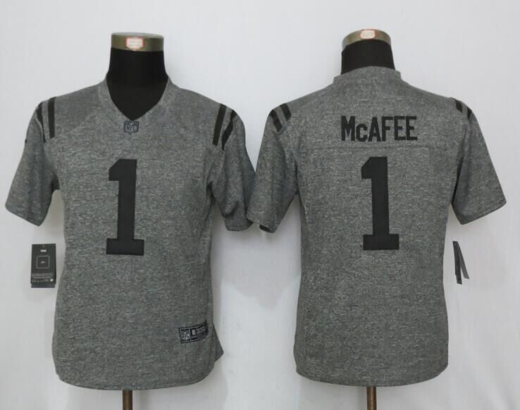 2016 Women New Nike Indianapolis Colts 1 McAfee Gray Stitched Gridiron Gray Limited Jersey