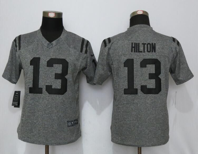 2016 Women New Nike Indianapolis Colts 13 Hilton Gray Stitched Gridiron Gray Limited Jersey