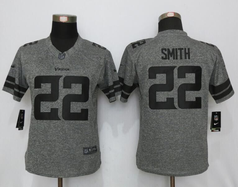 2016 Women New Nike Minnesota Vikings 22 Smith Gray Stitched Gridiron Gray Limited Jersey