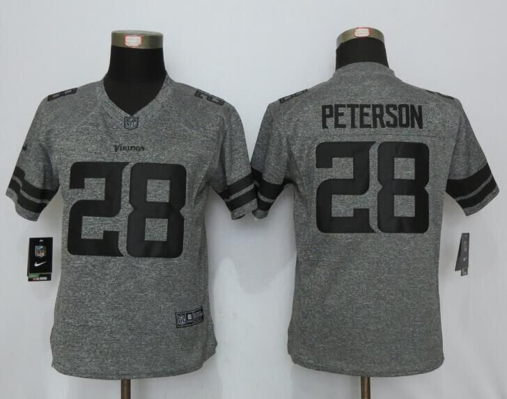 2016 Women New Nike Minnesota Vikings 28 Peterson Gray Stitched Gridiron Gray Limited Jersey