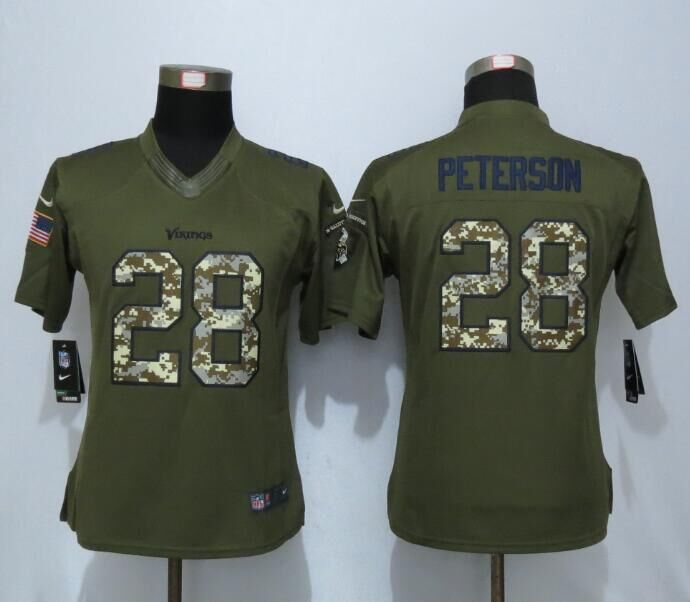 2016 Women New Nike Minnesota Vikings 28 Peterson Green Salute To Service Limited Jersey
