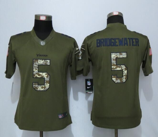 2016 Women New Nike Minnesota Vikings 5 Bridgewater Green Salute To Service Limited Jersey