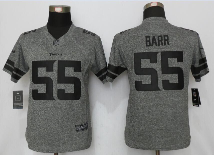 2016 Women New Nike Minnesota Vikings 55 Barr Gray Stitched Gridiron Gray Limited Jersey