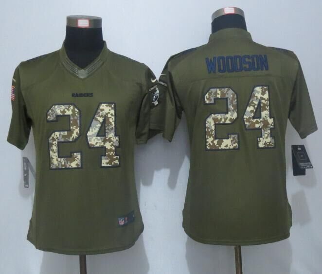 2016 Women New Nike Oakland Raiders 24 Woodson Green Salute To Service Limited Jersey