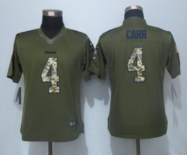 2016 Women New Nike Oakland Raiders 4 Carr Green Salute To Service Limited Jersey