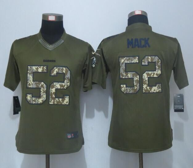 2016 Women New Nike Oakland Raiders 52 Mack Green Salute To Service Limited Jersey
