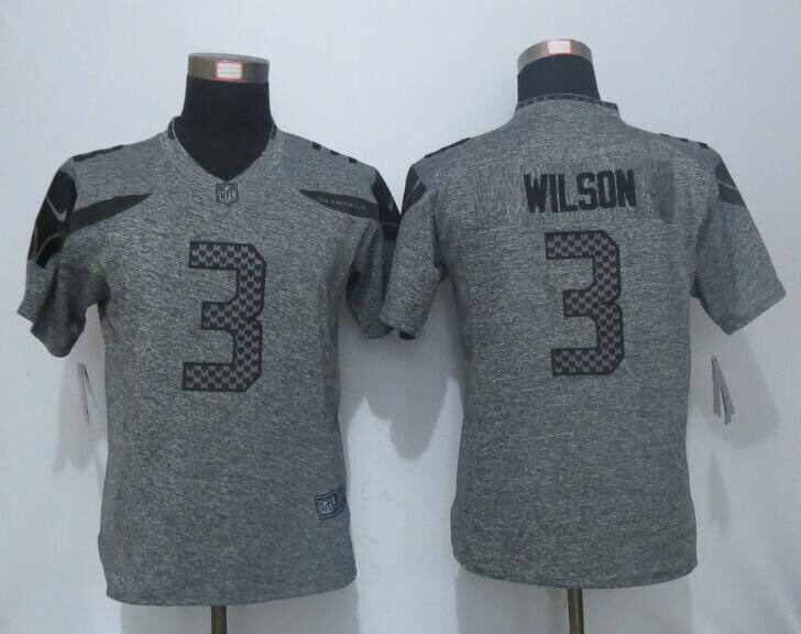 2016 Women New Nike Seattle Seahawks 3 Wilson Gray Men's Stitched Gridiron Gray Limited Jersey