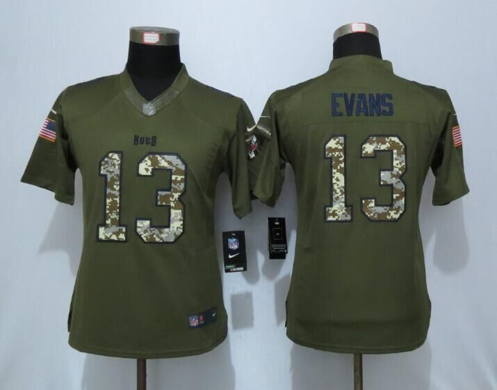 2016 Women New Nike Tampa Bay Buccaneers 13 Evans Green Salute To Service Limited Jersey
