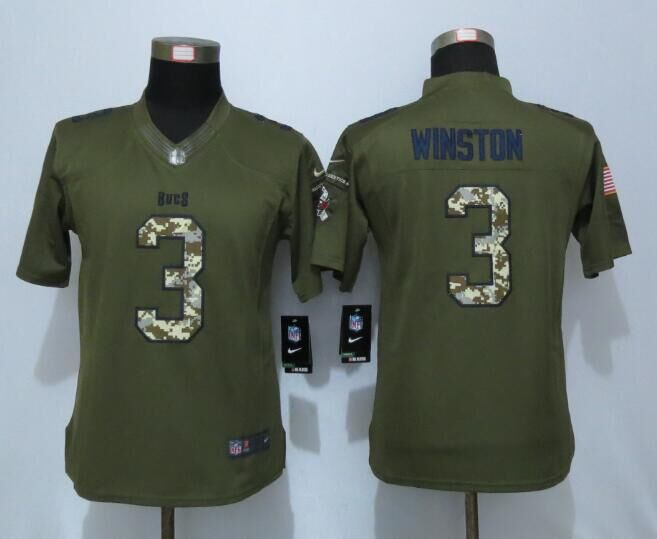 2016 Women New Nike Tampa Bay Buccaneers 3 Winston Green Salute To Service Limited Jersey