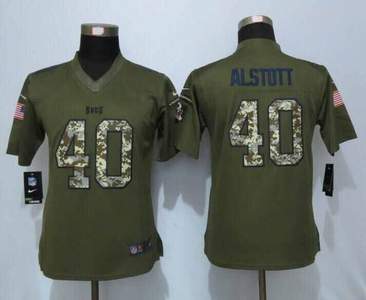 2016 Women New Nike Tampa Bay Buccaneers 40 Alstott Green Salute To Service Limited Jersey