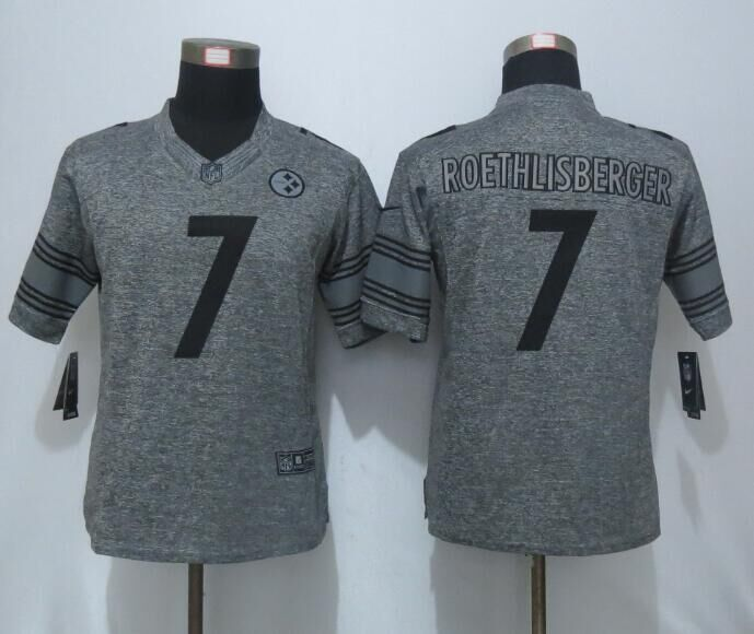 2016 Women New Pittsburgh Steelers 7 Roethlisberger Gray Stitched Gridiron Limited Jersey