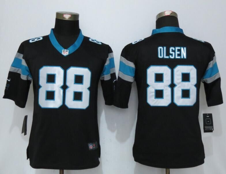 2016 Women Nike Carolina Panthers 88 Olsen Black Elite Jerseys