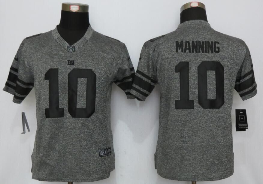2016 Women Nike New York Giants 10 Manning Gray Stitched Gridiron Gray Limited Jersey