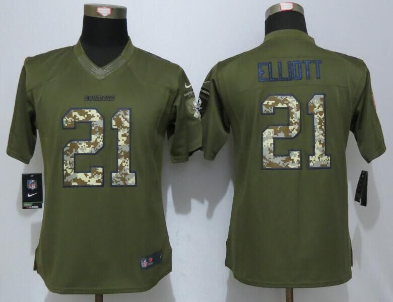 2016 Womens Dallas Cowboys 21 Elliott Green Salute To Service New Nike Limited Jersey
