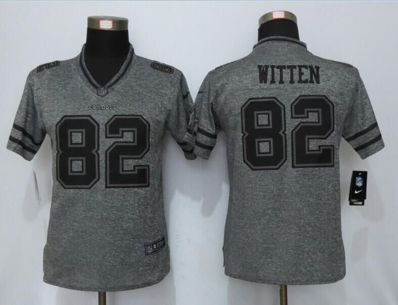 2016 Womens Dallas Cowboys 82 Witten Gray Stitched Gridiron Gray New Nike Limited Jersey