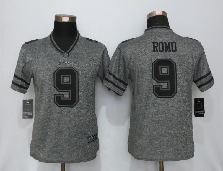 2016 Womens Dallas Cowboys 9 Romo Gray Stitched Gridiron Gray New Nike Limited Jersey