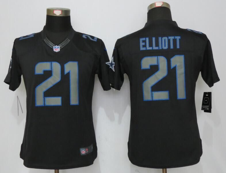 2016 Womens Dallas cowboys 21 Elliott Impact Limited Nike Black Jerseys