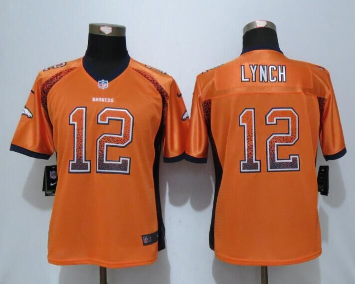 2016 Womens Denver Broncos 12 Lynch Drift Fashion Orange NEW Nike Elite Jerseys