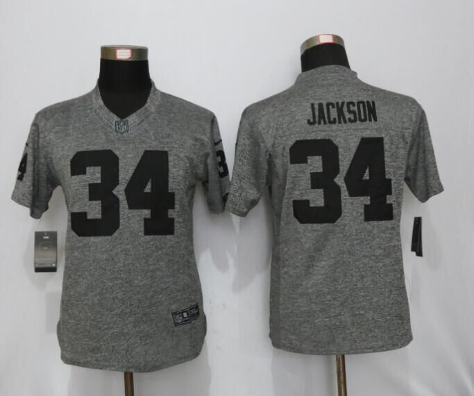 2016 Womens Oakland Raiders 34 Jackson Gray Stitched Gridiron Gray New Nike Limited Jersey