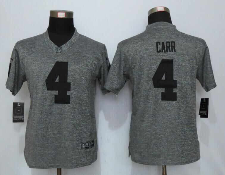2016 Womens Oakland Raiders 4 Carr Gray Stitched Gridiron Gray New Nike Limited Jersey