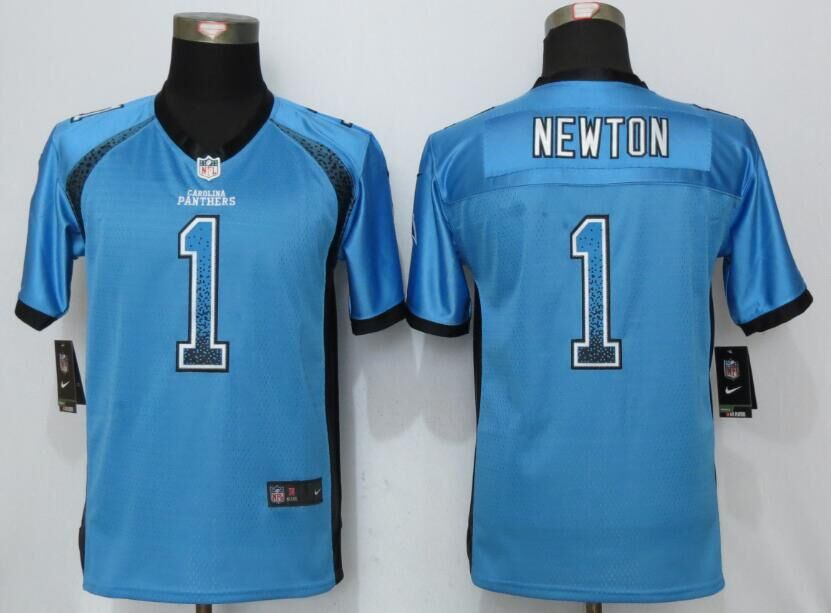 2016 Youth NEW Nike Carolina Panthers 1 Newton Drift Fashion Blue Elite Jerseys
