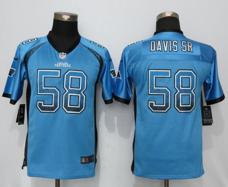 2016 Youth NEW Nike Carolina Panthers 58 Davis sr Drift Fashion Blue Elite Jerseys