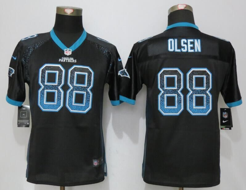 2016 Youth NEW Nike Carolina Panthers 88 Olsen Drift Fashion Black Elite Jerseys