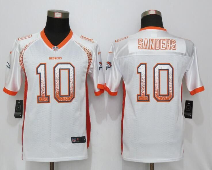 2016 Youth NEW Nike Denver Broncos 10 Sanders Drift Fashion White Elite Jerseys