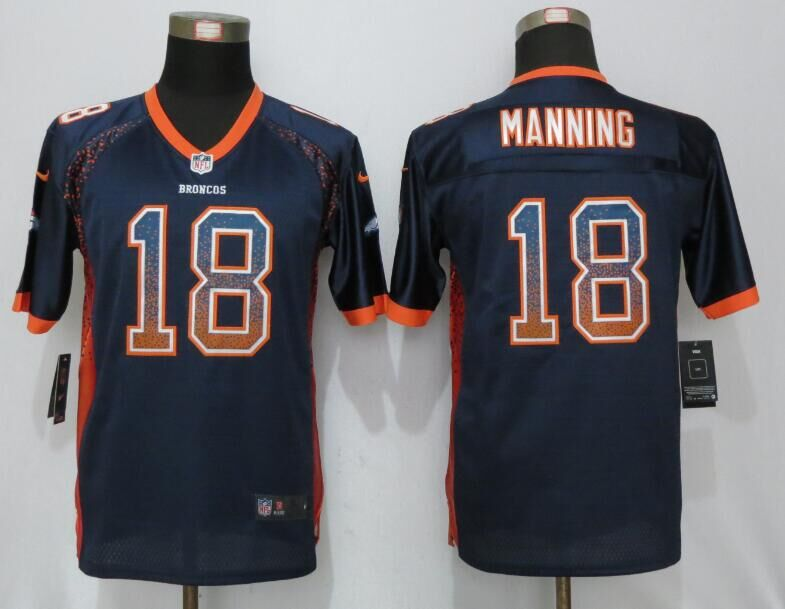 2016 Youth NEW Nike Denver Broncos 18 Manning Drift Fashion Blue Elite Jerseys