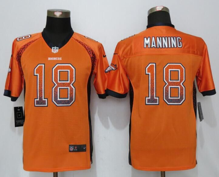 2016 Youth NEW Nike Denver Broncos 18 Manning Drift Fashion Orange Elite Jerseys