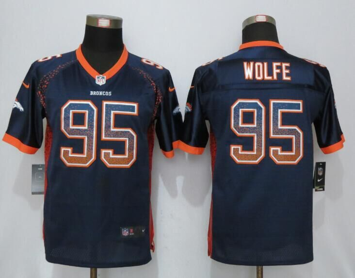 2016 Youth NEW Nike Denver Broncos 95 Wolfe Drift Fashion Blue Elite Jerseys