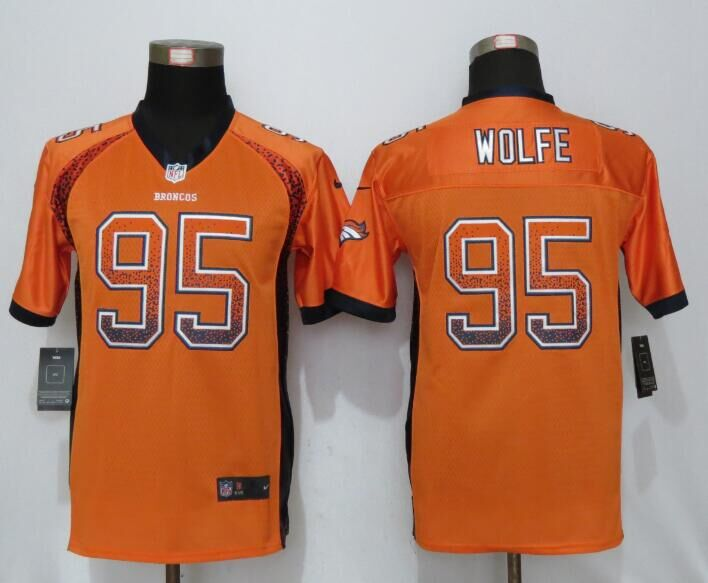 2016 Youth NEW Nike Denver Broncos 95 Wolfe Drift Fashion Orange Elite Jerseys